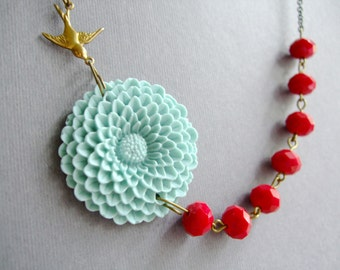 Christmas Gift,Holiday Jewelry,Statement Necklace,Aqua Flower Necklace,Red Jewelry,Bridesmaid Jewelry Set,Gift For Her,Bib Necklace,Gift