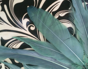 "25 TEAL Satinette Goose Feathers, 3"" to 5"" Long"