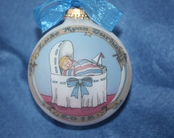 BABY BOY'S DELUXE Keepsake Personalized Ornament, Original, Handpainted, Personalized with free display stand