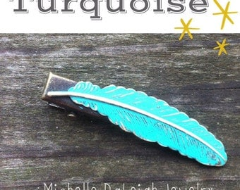 Turquoise Hand Painted Feather Hair Clip Boho Jewelry Vintage Jewelry Valentines Gift