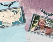 Long Distance Relationship Custom Map pendant with photo Military Grilfriend Wife Mom