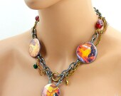 Fly Away Home Steampunk Buttons Choker Chain Necklace