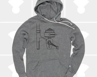 Fishing Gift, Fishing Shirt Men, Fishing Reel Hoodie, Pullover Sweatshirt, Rod & Reel, Lumberjack, Hipster, Gift for Boyfriend, Gift for Men
