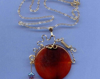 Carnelian Pendant with 14K gold fill Embellishments and Chain