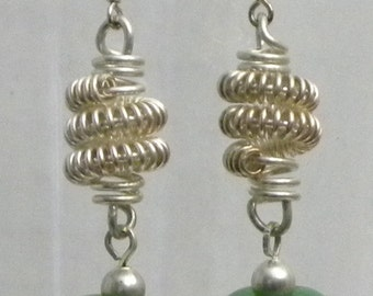 Sterling Silver Earrings with Green Lampwork Beads.