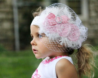 Decades 1940s The Diana Headband Veil Pink and White Silk and Crystal