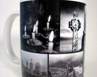 IRISH MUG, Ireland Photo Mug, Celtic Cross, Ireland Souvenir, Waterford, Kerry, Meath, Old Cemetery, Irish Gift, Black & White,Catholic Gift