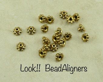 20 TierraCast 6mm Beaded Daisy Bead Aligner Bead Caps > 22kt Gold Plated Lead Free Pewter - I ship Internationally 5692