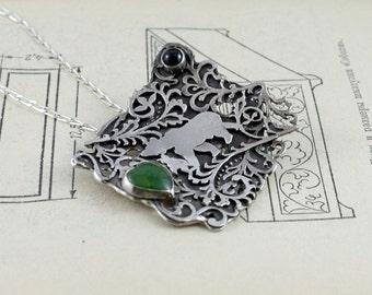 Woodland jewelry. Bear pendant. Bear necklace. Rustic jewelry design