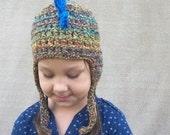 Dragon Hat in Desert Sunset - Child's Animal Hat, Dinosaur Knit Hat, Spike Hat, Gender Nuetral Gift