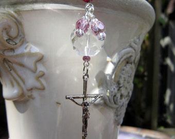 Rearview Mirror Jewelry Charm Car Feng Shui Crucifix Cross Jesus