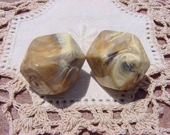 Sandstone Marble Geometric Vintage Lucite Beads
