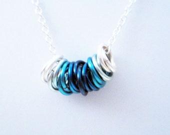 Ocean Mobius Rings Necklace Handmade
