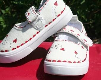 Ladybug Shoes,hand painted,canvas,girls toddler