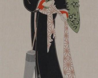 Tenugui Japanese Fabric 'Ukiyo-e Beauty' w/Free Shipping
