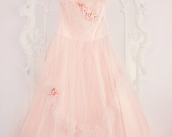 Pink prom dress vintage roses photography 8x10 dreamy tulle pastel shabby cottage romantic home decor wall art photography print