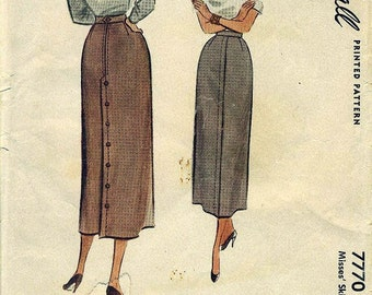 McCall 7770 - EYECATCHING Long, Sleek, Slender Skirt circa 1949