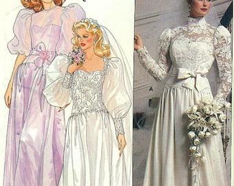 Butterick 6304 Bridal Gown Bridesmaid Dress Size 10 vintage 1980s UNCUT