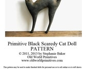 Primitive E-Pattern - Primitive Black Cat Doll - PDF File Digital Download - oldworldprimitives