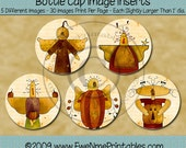 INSTANT DOWNLOAD - Printable Bottle Cap Images - Harvest Pals Two - U-Print PDF FIle