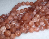 Sunstone,Faceted 10mm Round Gemstone Beads-8