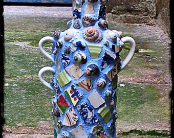 spirit bottle vintage shard and shell mosaic memory jug