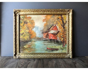 1958 Old Mill Painting - 1958 Vintage Painting