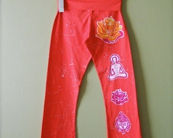 Lotus Batik Yoga pants Hand painted & hand dyed women red splatter in white - Yoga clothes - size XS, S, M, L, XL