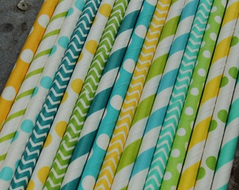 Boy Party Straws -- set of 25 -- Caribbean, aqua, lime green, turquoise, yellow -- Paper Drinking