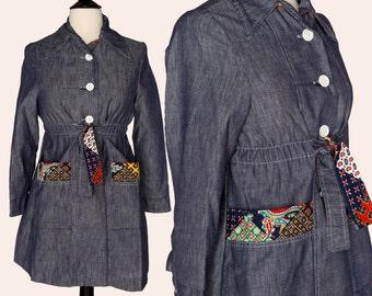 Vintage 70s Jacket / Jean Patchwork Jacket / Patchwork Coat