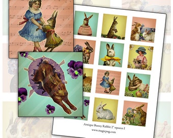 Antique Bunny Rabbit 2 inch squares I digital collage sheet 50 mm 2x2 50.8 mm x 50.8 mm