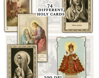 Catholic Holy Cards Digital Download Set A -- 74 images for digital collage and crafts