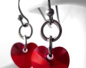 SALE - Tough Love - Red Heart Earrings, Small Red Crystal Heart Earrings, Gunmetal Black, Valentines Day Gift Wife, Girlfriend, Teen Girl