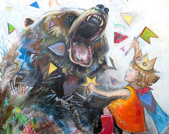 Ferocious - 12X12 print - Little girl wearing crown dancing with bear - limited edition