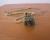 Gold Treasure Chest Locket Charm Necklace Vintage Style by Alice Wears Gold