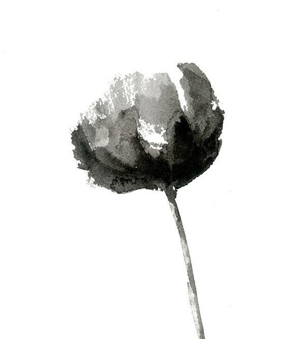 Noir et blanc pivoine imprimer partir dune aquarelle for Art minimaliste noir et blanc