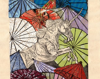 Unicorn Amongst Umbrellas XVI- Multimedia - Lino Block Print Unicorn with Collaged Japanese Paper Parasols