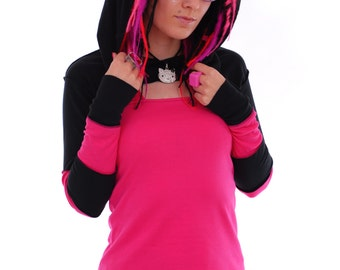 Kawaii Stripy Hooded Shrug ~ Goth ~ Cybergoth ~ Hippie ~ Alternative ~ Boho ~ Sizes 6 to 30 ~ Available in different colours