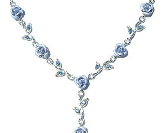 Swarovski Crystal Baby Blue Rose Flower Floral Charm Pendant Chain Necklace Christmas Best Friend Bridal Bridesmaid Jewelry Gift