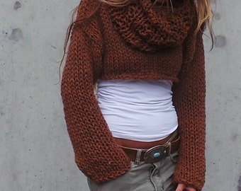 cropped sweater  / shrug copper brown chunky cropped sweater / snug shrug / iLE AiYE/
