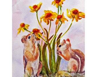 Chipmunk Watercolor Painting, Forest Critters, Rocky Mountain Animals, Woodland Creatures, Mountain Cabin Art, Original Nature Painting