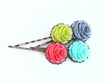Bobby Pins Hair Pins Set, Antique Brass, Vintage Style Flowers, Gift  For Girl, Floral Accessories, Colorful, Gift For Woman
