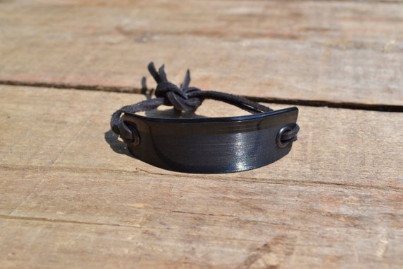 FREE SHIPPING -Vinyl Record bracelet, adjustable Vinyl Record Cuff, leather fringes to tie