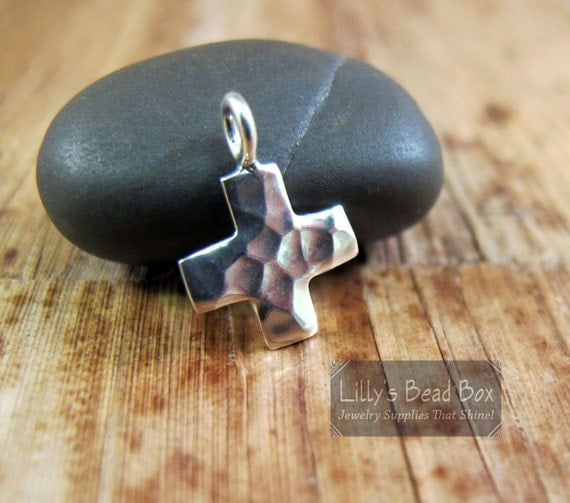 Silver Cross Charm, .925 Sterling Silver Hammered Cross Charm, Silver Cross Pendant for Making Jewelry (CH 2534)