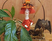 Primitive Halloween Witch Plant Stake  Decoration