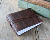 Leather Journal / Sketchbook / Guestbook  . Rustic, Small & Chunky . hand embossed . handmade handbound . dark brown   (320 pgs)