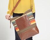 Laptop Crossbody Bag, Everyday Bag, Southwestern Bag, Modern Diaper Bag, Bag for Teen Girl, Large School Bag, Oversized Leather Crossbody