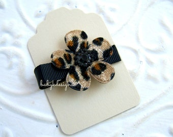 Baby Hair Clips / No Slip Clips / Girls  Tan n black LEOPARD Flowers Bows Clippies / Infant No Slip Clips / Baby Snap Clips
