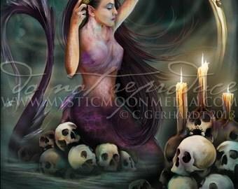 Art Retirement SALE/ Sea Witch Fantasy Art / Print / Pagan Art / Mermaid Art Print / Bathroom Decor / Skull