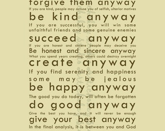Do It Anyway - Instant Download Print for Canvas & Paper - Cream Background with Brown Lettering